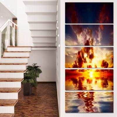 Designart Caribbean Sunset With Beautiful Sky Large Seashore Canvas Wall Art  - 5 Panels