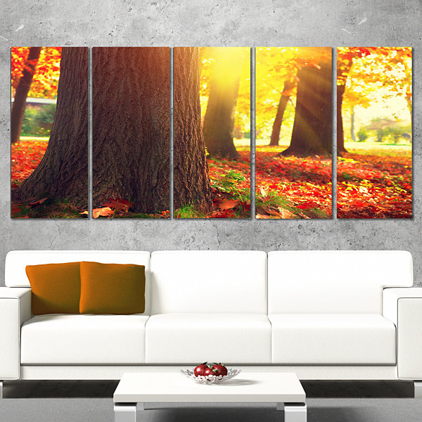 Designart Autumn Trees In The Sunlight Large Landscape Canvas Art - 5 Panels