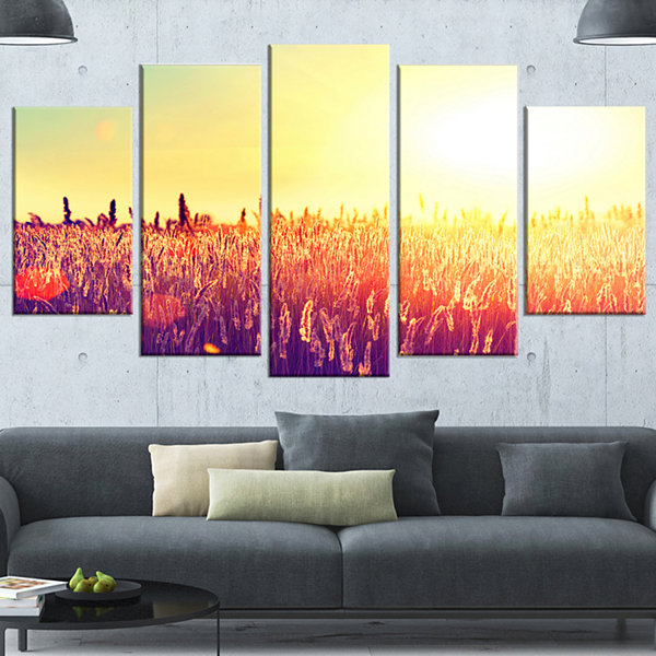 Designart Rural Fields Under Shining Sun Large Landscape Canvas Art - 5 Panels
