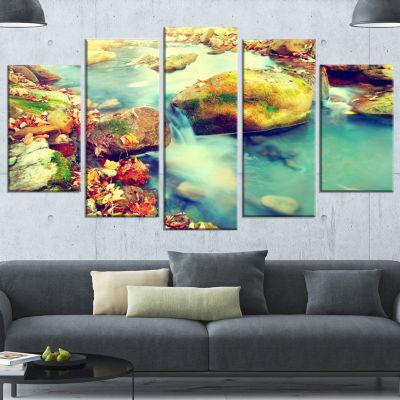 Mountain River With Stones Large Seashore WrappedCanvas Wall Art - 5 Panels