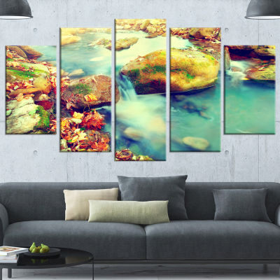 Designart Mountain River With Stones Large Seashore Canvas Wall Art - 5 Panels