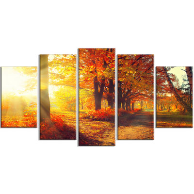 Designart Autumnal Trees In Sunrays Large Landscape Wrapped Canvas Art Print - 5 Panels