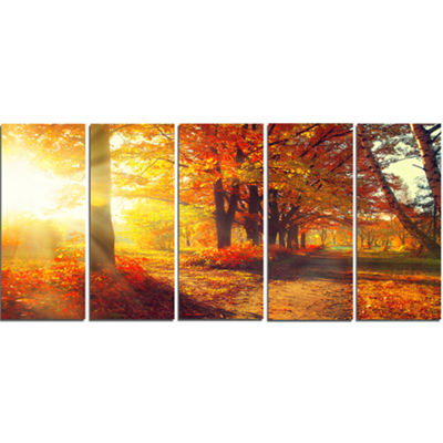 Designart Autumnal Trees In Sunrays Large Landscape Canvas Art Print - 5 Panels
