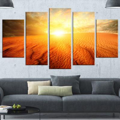 Designart Sand Landscape With Sun Large LandscapeWrapped Canvas Art Print - 5 Panels