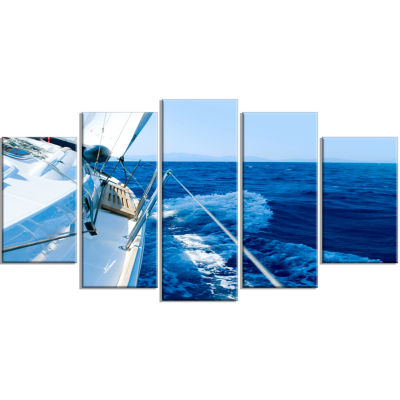Tourism Yacht Sailing In Blue Sea Large Seashore Wrapped Canvas Wall Art - 5 Panels
