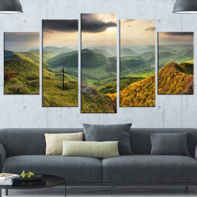 Designart Slovakia Spring Forest Mountain Large Landscape Wrapped Canvas Art Print - 5 Panels