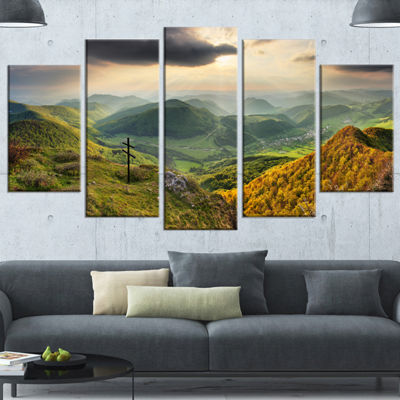 Designart Slovakia Spring Forest Mountain Large Landscape Canvas Art Print - 5 Panels