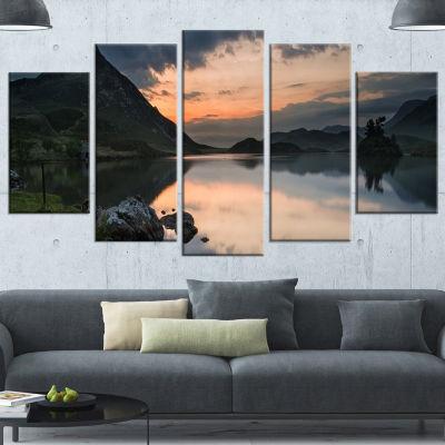 Designart Stunning Sunrise Over Lake Panorama Large Landscape Canvas Art Print - 4 Panels