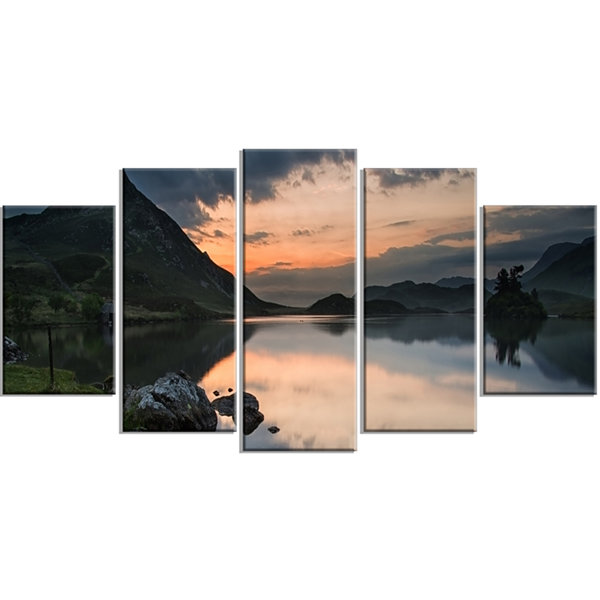 Design Art Stunning Sunrise Over Lake Panorama Large Landscape Wrapped Canvas Art Print - 5 Panels