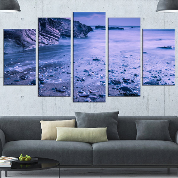 Designart Calm Time Lapse On Beach At Sunset LargeSeashoreWrapped Canvas Wall Art - 5 Panels