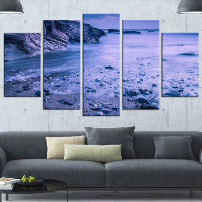 Designart Calm Time Lapse On Beach At Sunset LargeSeashore Canvas Wall Art - 5 Panels