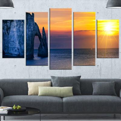 Designart Etretat Cliff Normandy Panorama Large Seashore Canvas Wall Art - 4 Panels