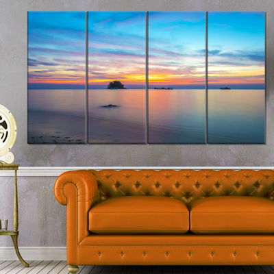 Designart Bluish Calm Sunset And Seashore Large Seashore Canvas Wall Art - 4 Panels