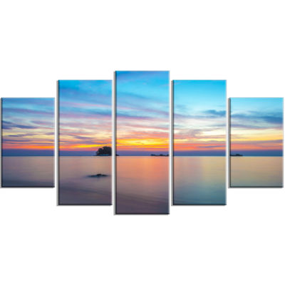 Designart Bluish Calm Sunset And Seashore Large Seashore Wrapped Canvas Wall Art - 5 Panels