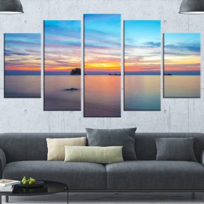 Bluish Calm Sunset And Seashore Large Seashore Canvas Wall Art - 5 Panels