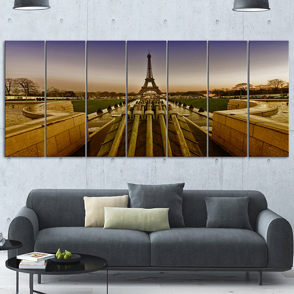 Design Art Beautiful View Of Paris Eiffel Tower Large Landscape Canvas Art Print - 5 Panels