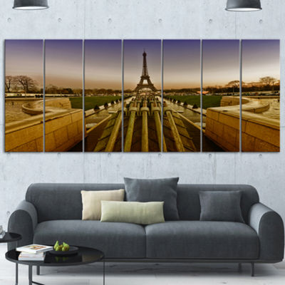 Designart Beautiful View Of Paris Eiffel Tower Large Landscape Canvas Art Print - 7 Panels