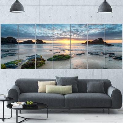 Designart Beautiful Porthcothan Bay Large SeashoreCanvas Wall Art - 5 Panels