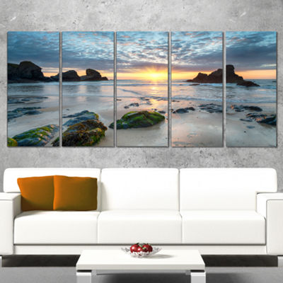 Designart Beautiful Porthcothan Bay Large SeashoreCanvas Wall Art - 5 Panels