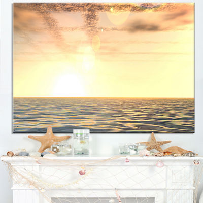 Designart Beautiful Porthcothan Bay Large SeashoreCanvas Wall Art - 6 Panels