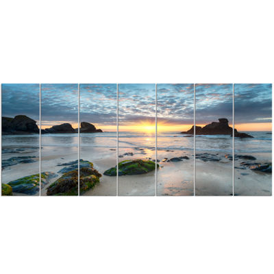 Designart Beautiful Porthcothan Bay Large SeashoreCanvas Wall Art - 7 Panels
