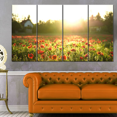 Designart Poppy Field Under Bright Sunlight LargeLandscapeCanvas Art Print - 4 Panels
