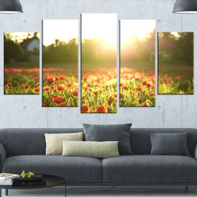 Designart Poppy Field Under Bright Sunlight LargeLandscapeCanvas Art Print - 5 Panels