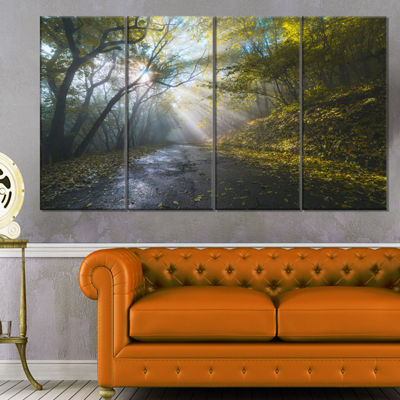 Designart Road In Autumn Forest At Sunset Large Landscape Canvas Art Print - 4 Panels