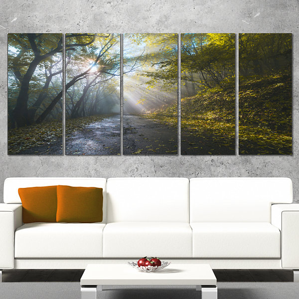 Designart Road In Autumn Forest At Sunset Large Landscape Canvas Art Print - 5 Panels