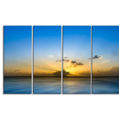 Sunset Lake In South Thailand Large Seashore Canvas Wall Art - 4 Panels