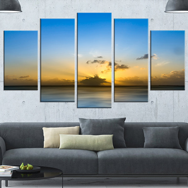 Designart Sunset Lake In South Thailand Large Seashore Wrapped Canvas Wall Art - 5 Panels