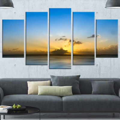 Designart Sunset Lake In South Thailand Large Seashore Canvas Wall Art - 5 Panels