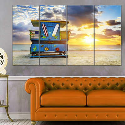 Designart Miami South Beach Sunrise Large SeashoreCanvas Wall Art - 4 Panels