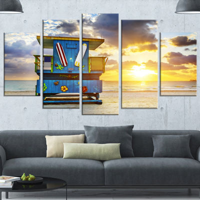 Designart Miami South Beach Sunrise Large SeashoreWrapped Canvas Wall Art - 5 Panels