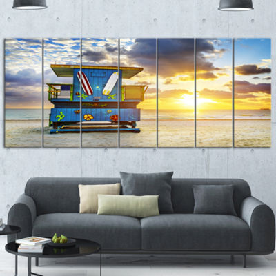 Designart Miami South Beach Sunrise Large SeashoreCanvas Wall Art - 7 Panels