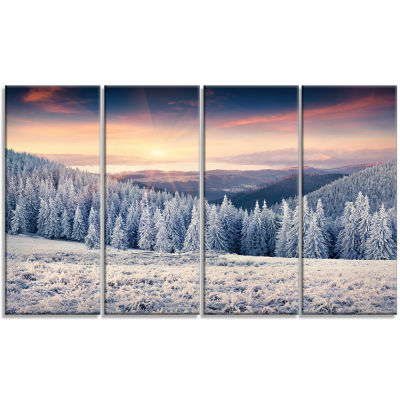 Carpathian Mountains In Winter Large Landscape Canvas Art Print - 4 Panels