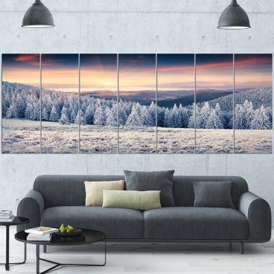 Designart Carpathian Mountains In Winter Large Landscape Wrapped Canvas Art Print - 5 Panels