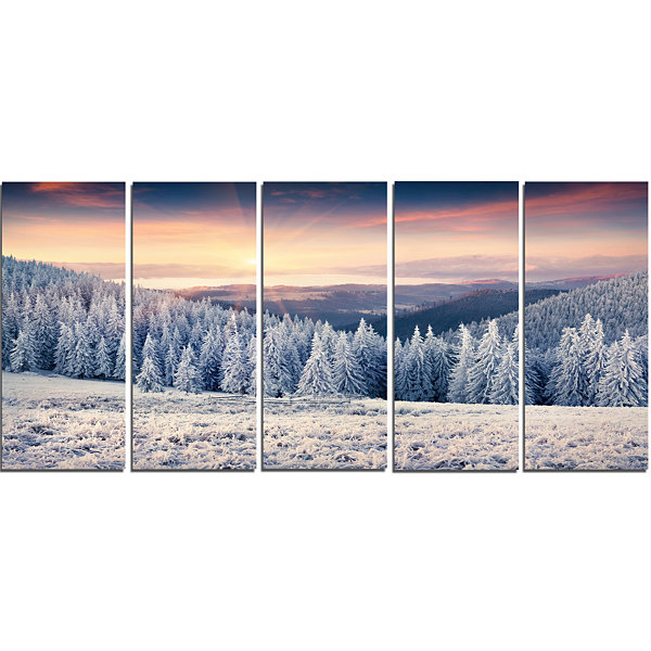 Designart Carpathian Mountains In Winter Large Landscape Canvas Art Print - 5 Panels