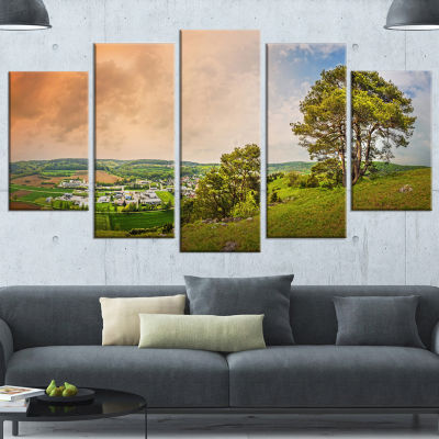 Designart Mountains In Germany Panorama Large Landscape Canvas Art Print - 5 Panels