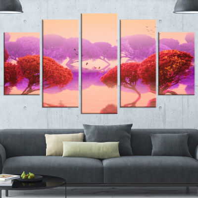 Designart Red And Purple Japanese Gardens Large Landscape Wrapped Canvas Art Print - 5 Panels