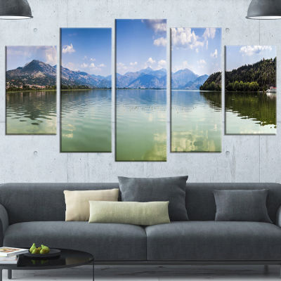Designart Kastoria Lake Greece Panorama LandscapeCanvas Art Print - 5 Panels