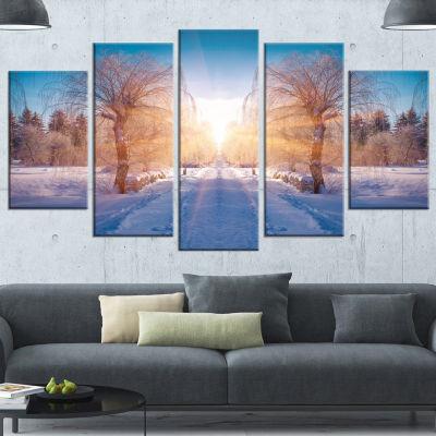 Winter Landscape In City Park Landscape Canvas ArtPrint - 4 Panels