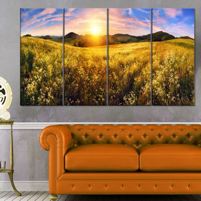 Designart Beautiful Meadow Panorama Landscape Canvas Art Print - 4 Panels