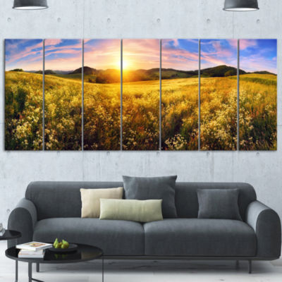 Beautiful Meadow Panorama Landscape Canvas Art Print - 4 Panels