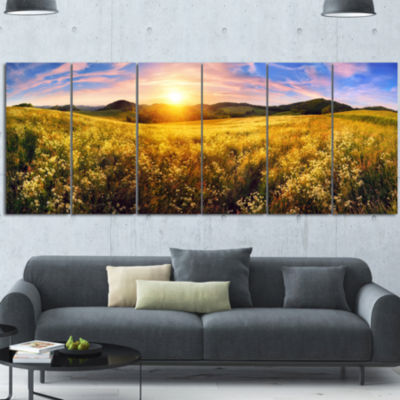 Beautiful Meadow Panorama Landscape Canvas Art Print - 6 Panels