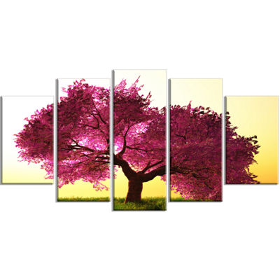 Designart Cherry Blossom In Beautiful Garden Landscape Wrapped Canvas Art Print - 5 Panels