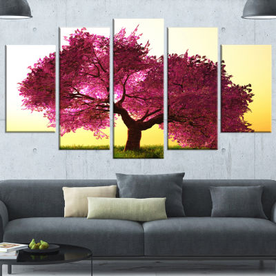 Designart Cherry Blossom In Beautiful Garden Landscape Canvas Art Print - 5 Panels