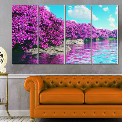 Beautiful Row Of Cherry Blossoms Landscape CanvasArt Print - 4 Panels