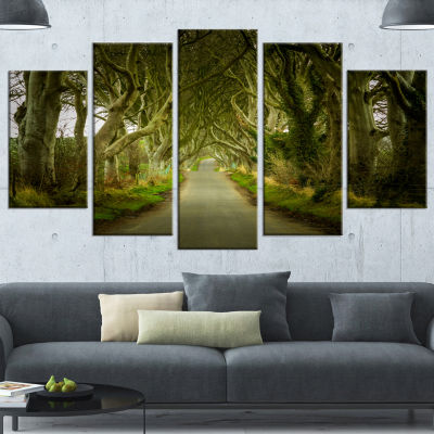 Design Art Dark Hedges Road Through Old Trees Landscape Wrapped Canvas Art Print - 5 Panels