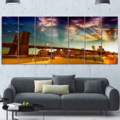 Relaxing In Brooklyn Bridge Park Large Cityscape Canvas Art Print - 4 Panels